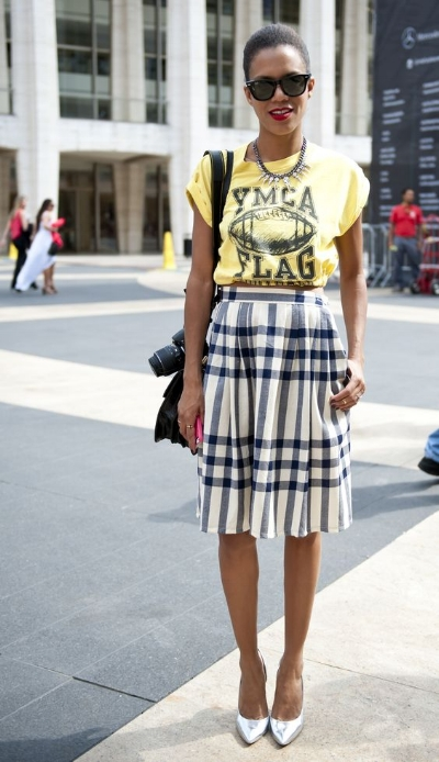 slogan tee with plaid skirt