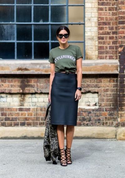 tee and pencil skirt