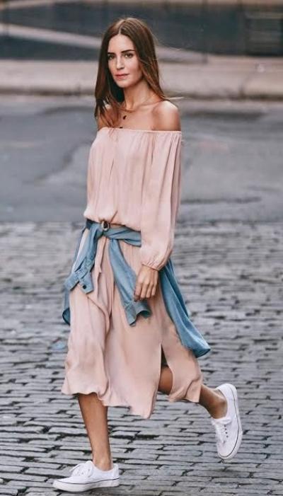 shirt tied over dress