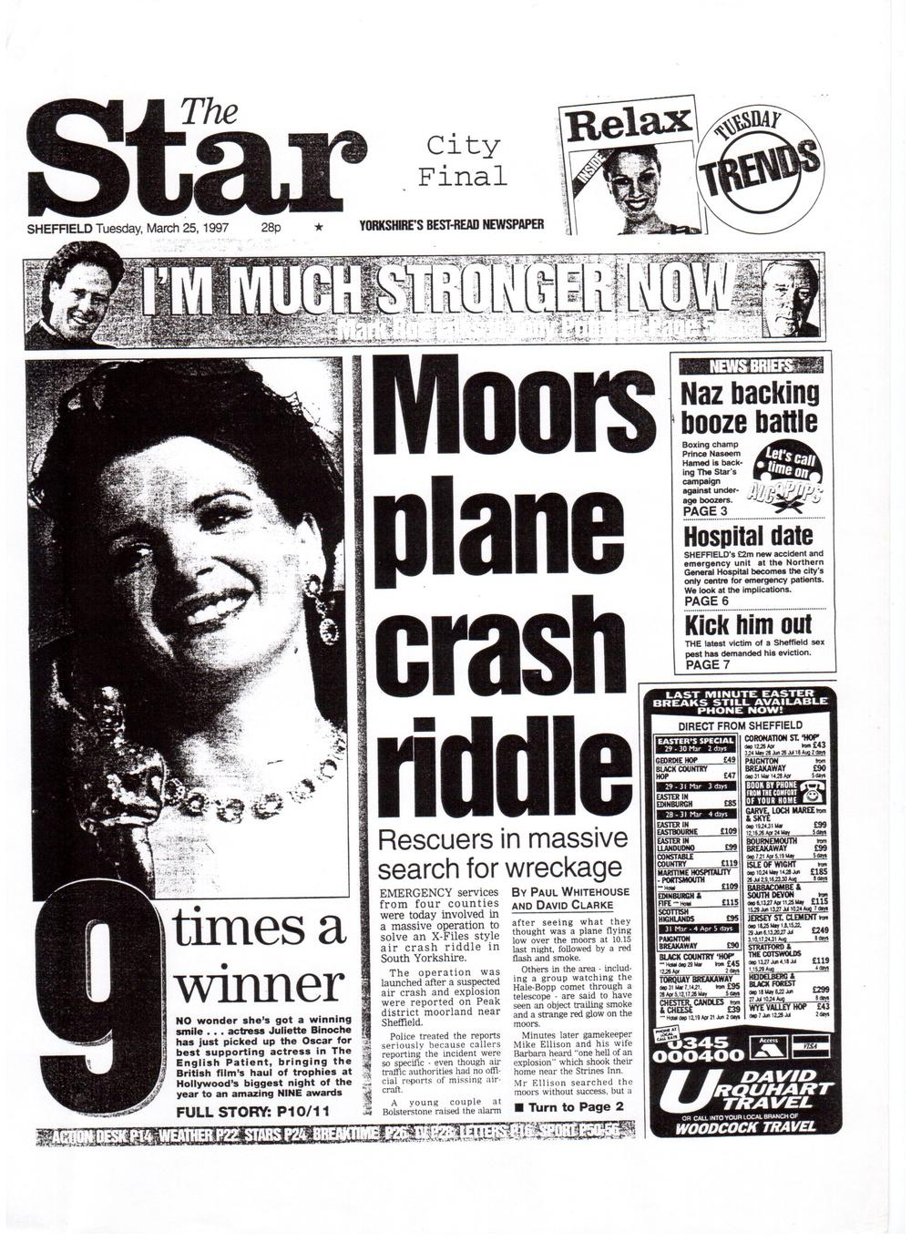 The crash that never was... Original article in The Sheffield Star, March 25th 1997