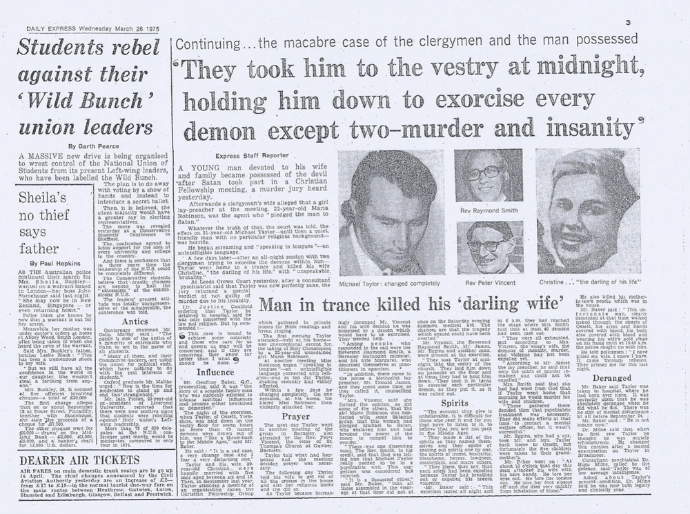 Daily Express article March 25th 1975