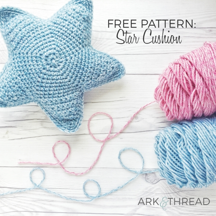 Free Crochet Pattern Star Cushion Ark Thread