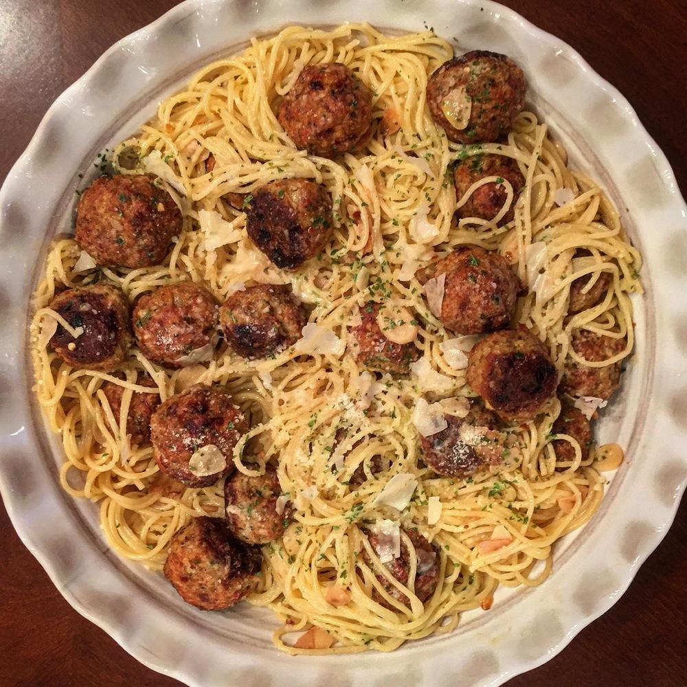 """Veal Meatballs & Pasta"""