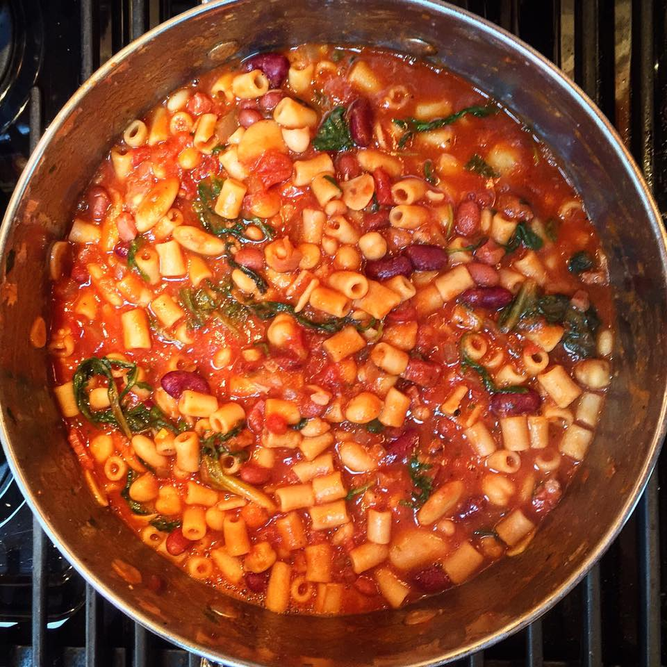 """Pot of Pasta e Fagioli cooking"""