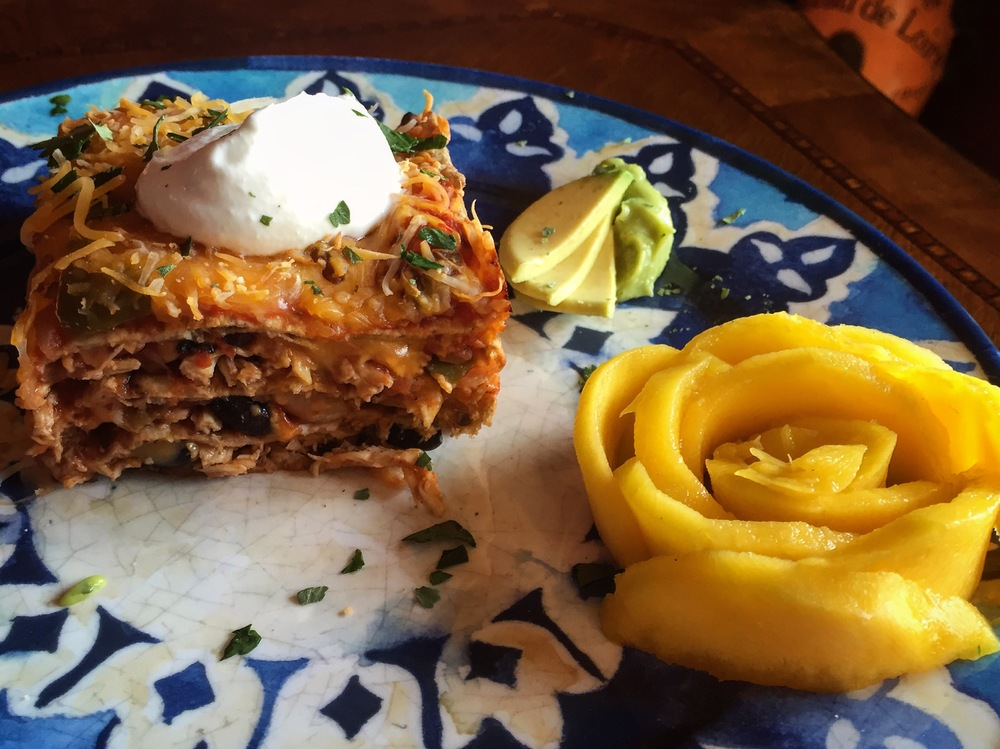 """Mexican Lasagna with Mango Rose"""