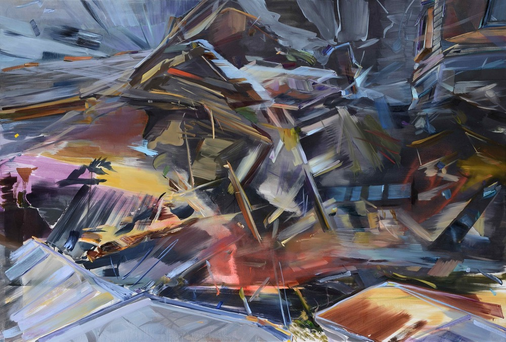 Suspension of belief , 2013, oil on canvas, 157x232cm. Private collection, Mauritius