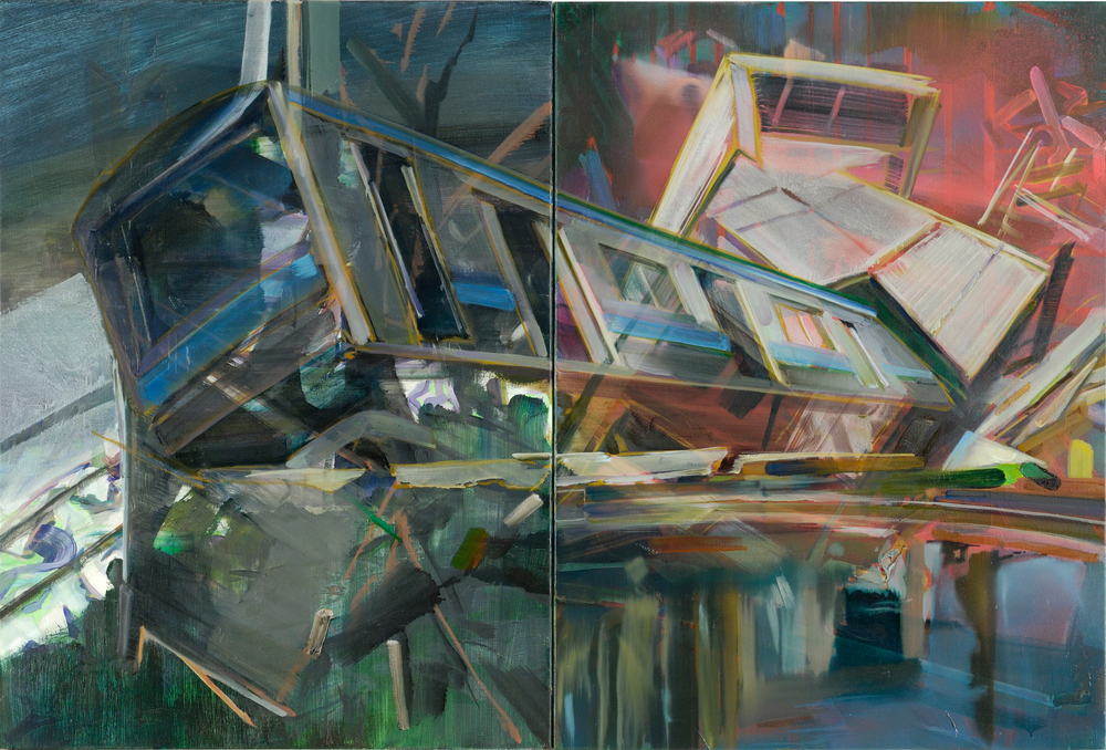 Shake Break Bounce , 2011, oil and alkyd on canvas, 81 x 120 cm (diptych). Private collection ,  France