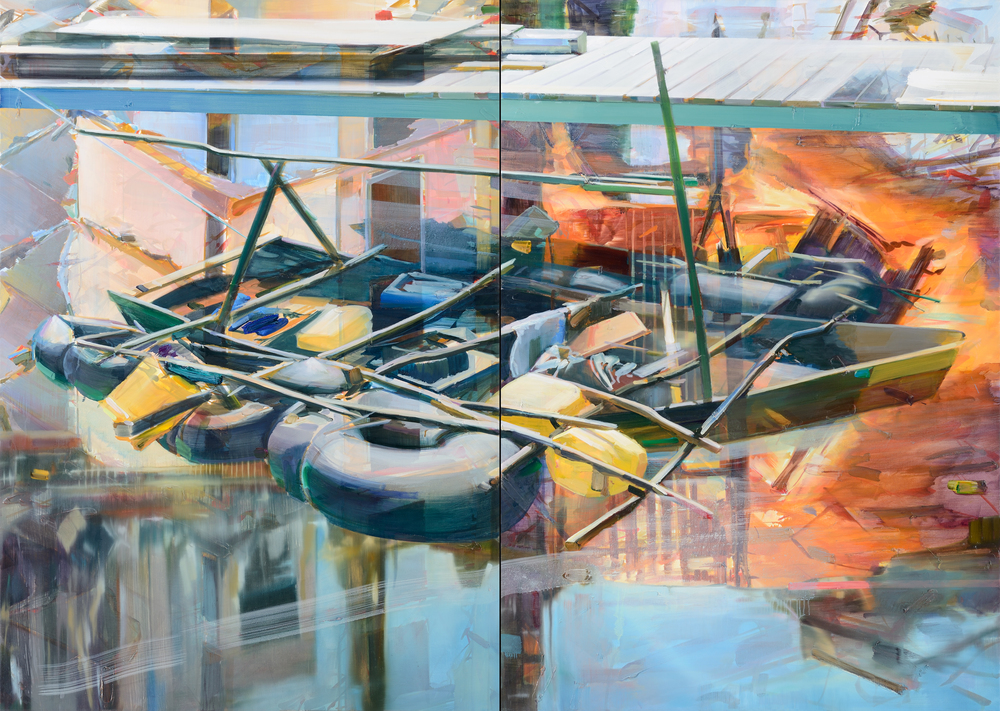 Sans titre (Mobile home) , 2012, oil on canvas, 162 x 228cm (diptych). MUDAM Collection, Luxembourg