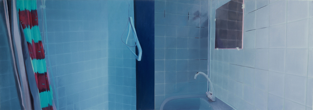 Untitled (bathroom, 1st version) , 1999, oil on canvas, 96 x 324cm (diptych). Private collection, France
