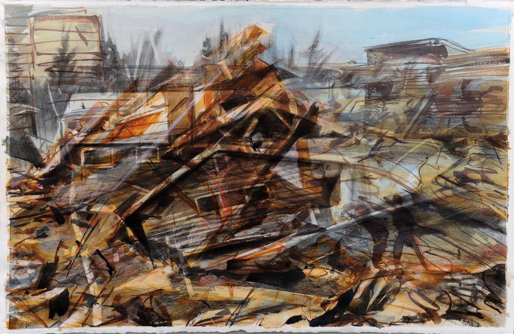 Untitled (mobile home),  watercolour and charcoal on paper, 65 x 102cm, 2011. Private collection, France