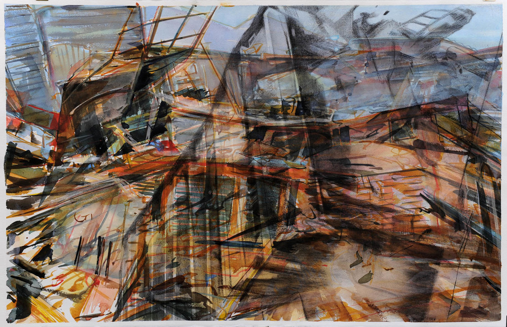Untitled , watercolour and charcoal on paper, 65 x 102cm, 2011. Private collection, France