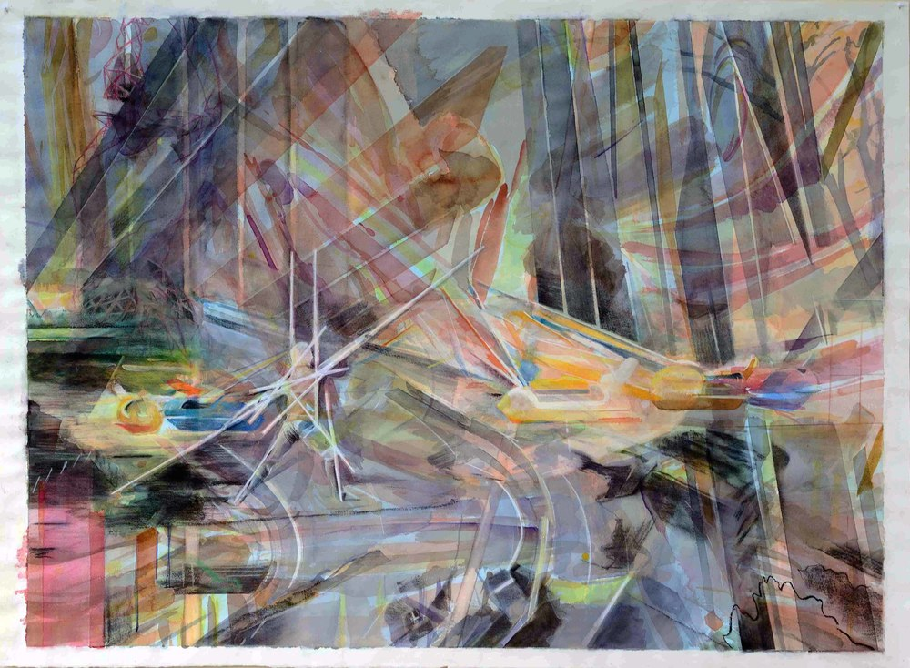 Out of my head , 104 x 140cm, watercolour and charcoal on paper, 2014. Private collection, France