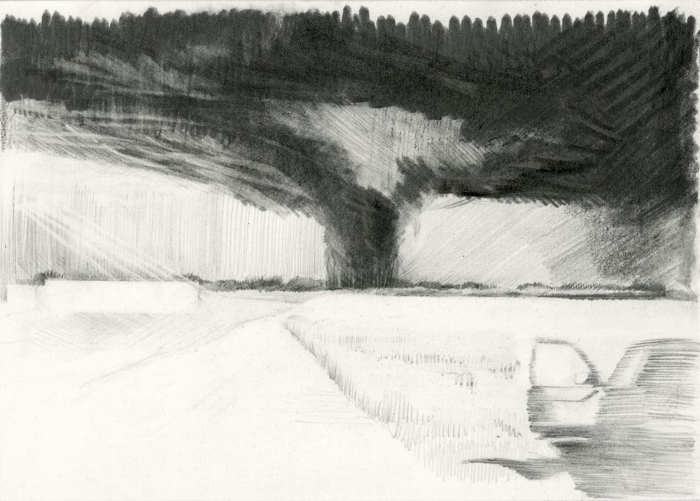 Storm path(s) , 2013, pencil on paper, 15 x 20 cm. Private collection, France