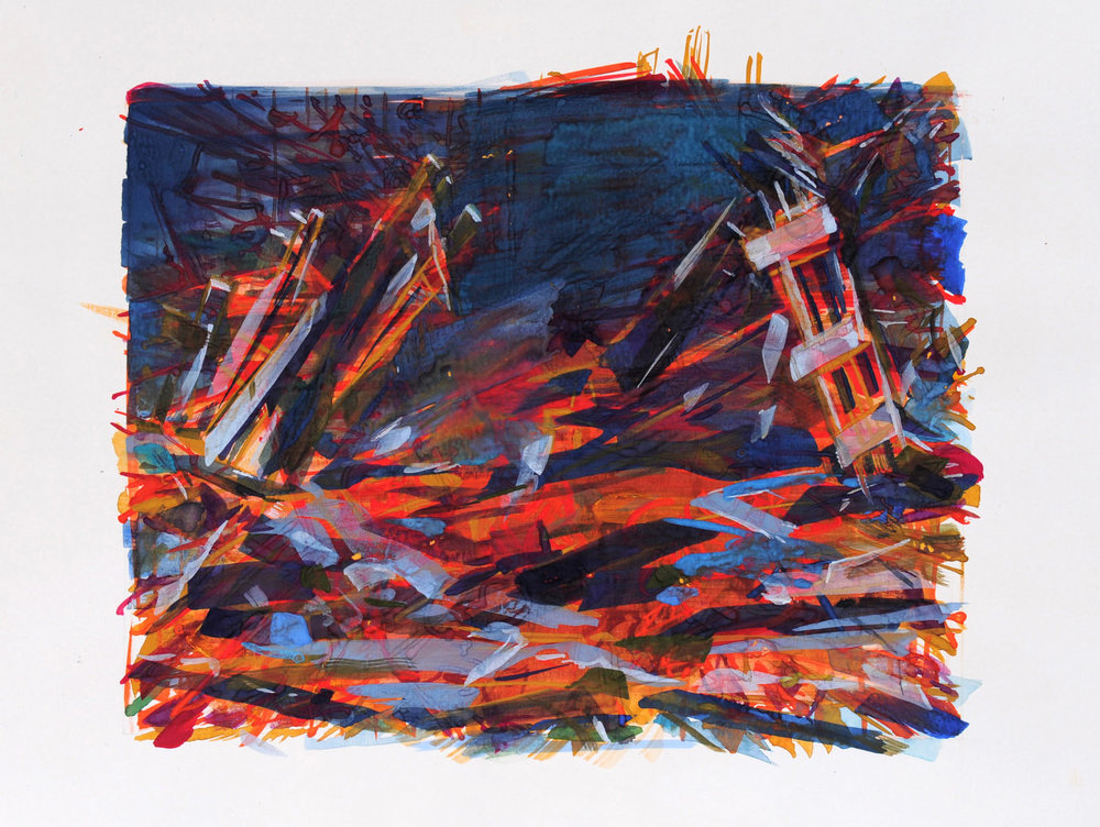 Twin Towers-Thailand , 2009, gouache on paper, 26 x 32 cm. Private collection, France