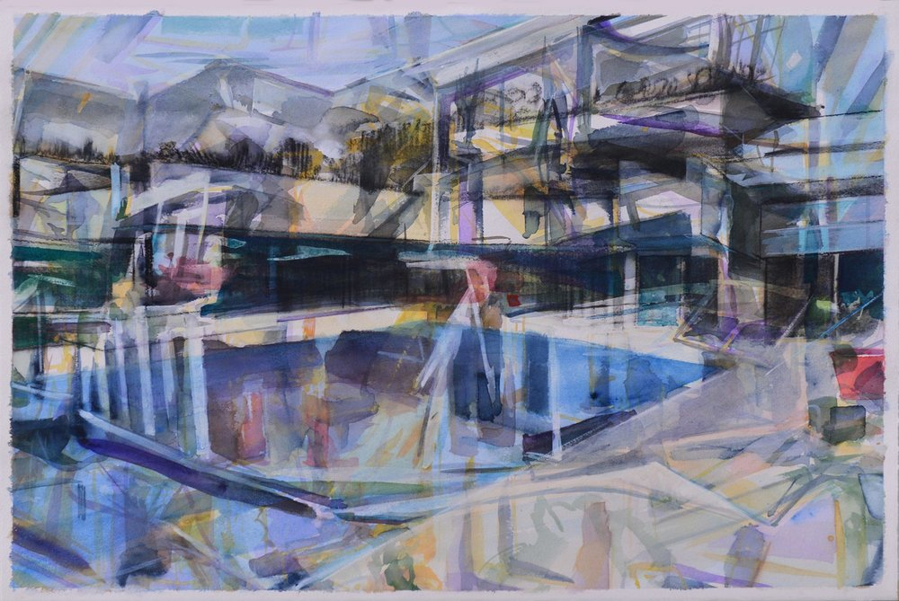 False Reflection (villa moderne),  2015, watercolour, gouache and charcoal on paper, 49 x 74cm. Private collection, France