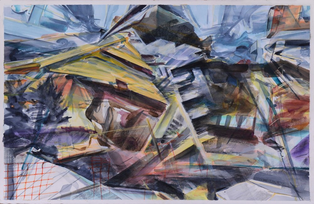 Fences,  2015, watercolour, gouache and charcoal on paper, 62 x 99cm. Private collection, France