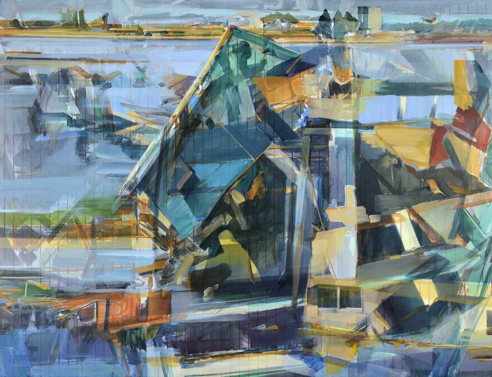 Multiple realities (multiple horizons) , Johannesburg/London, 2016, oil and alkyd on canvas, 230 x 300cm. Musée du Louvre Abu Dhabi Collection