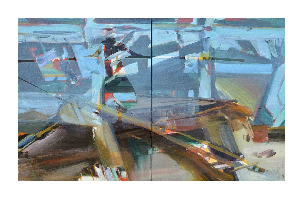 Multiple realities (girl on a wire) , 2016, oil and alkyd on canvas, 41 x 66 cm (diptych). Private collection, France