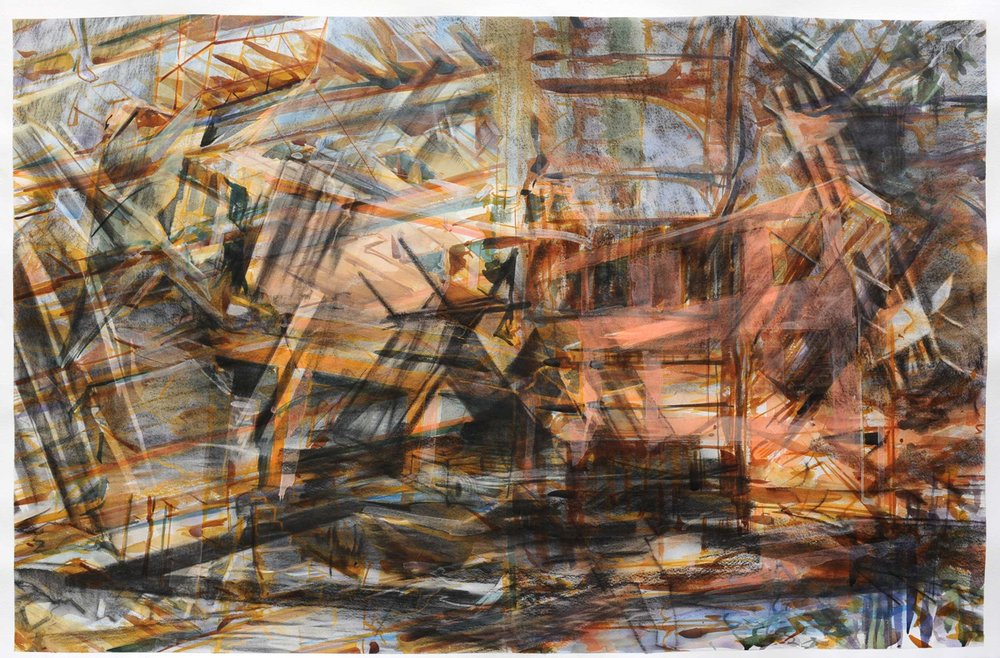 Untitled (mobile home) , 2011,  charcoal and watercolour on paper, 90 x 140cm. Private collection, Israel