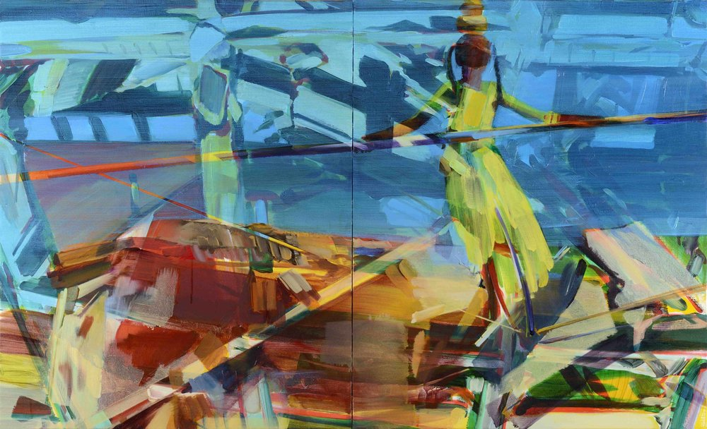 Multiple realities , 2017, oil and alkyd on canvas, 65 x 108cm(diptych). Coll. Ph.Piguet, France
