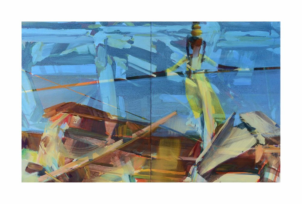 Setting a good trajectory, 2017, oil on canvas, 41 x 66cm (diptych). Private collection, France