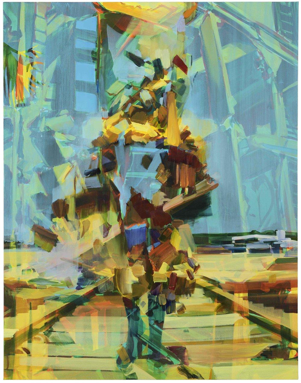 Self construct (Zimbabwe undertones) , November 2017, oil on canvas,183 x 143cm