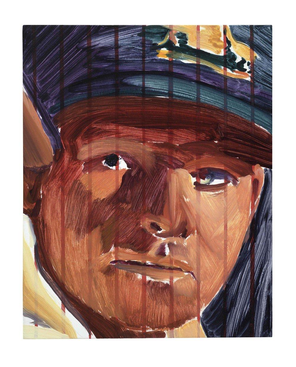 Tricheur (Cricket captain),  2018, oil on wood, 25x20cm