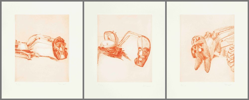Harpies , (triptych), 2018, drypoint (edition of 10), 3x20x25cm