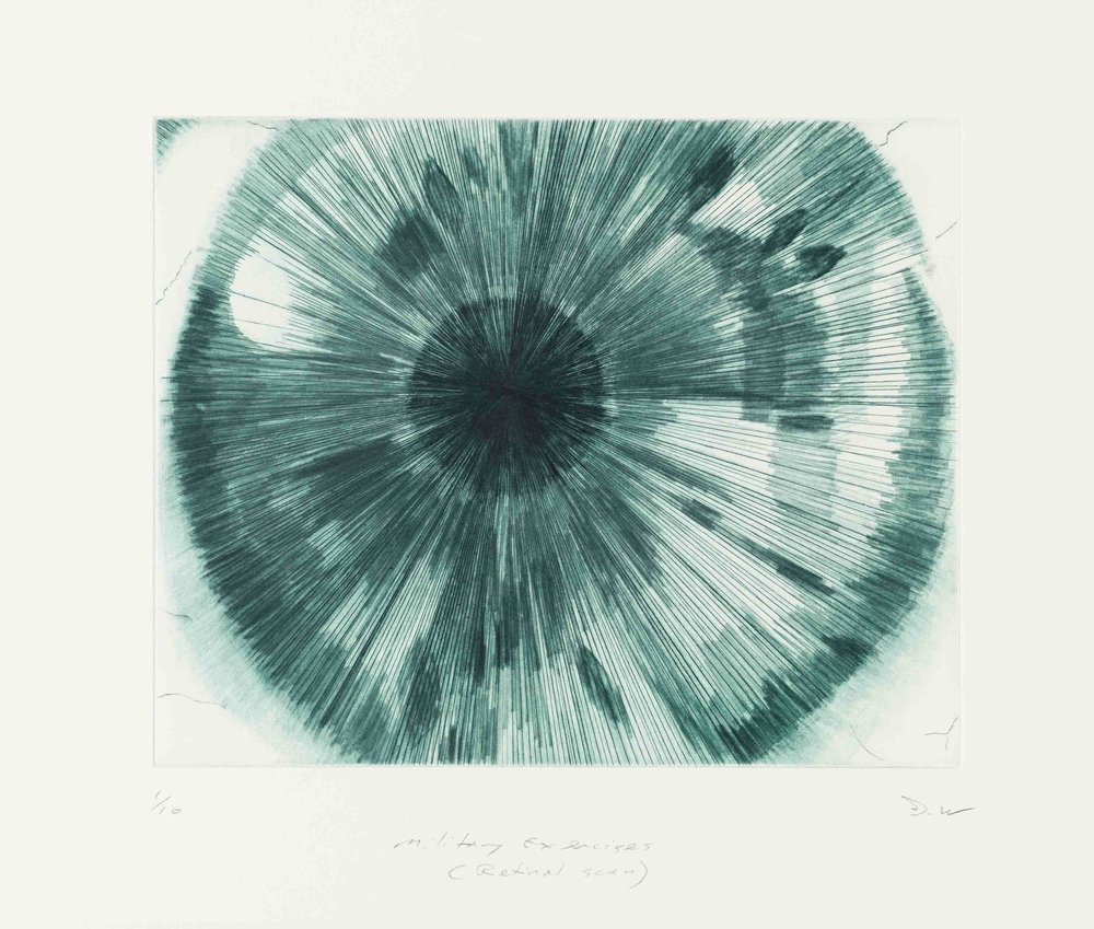 Military exercises (retinal scan) , 2018, drypoint, 20 x 25cm
