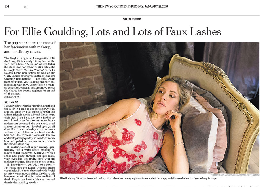 Pop star Ellie Goulding, photographed at home in London for The New York Times.