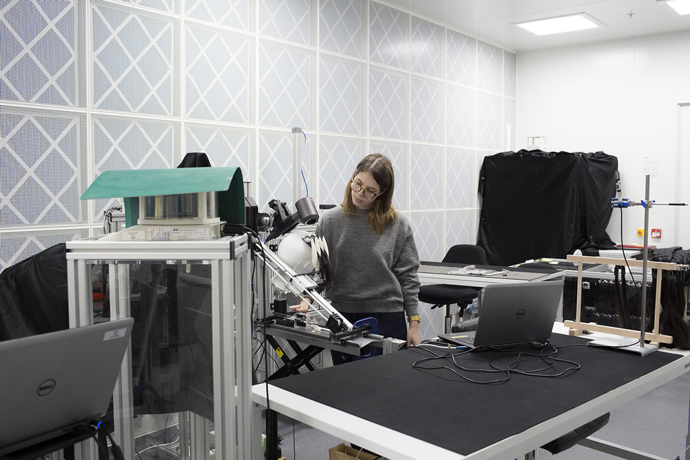 Design engineer Laura Howard, working in the hair research lab at Dyson.