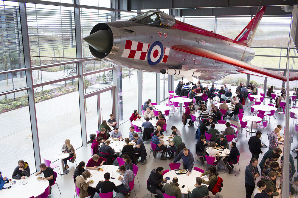 Inside the Lightening Cafe at Dyson HQ.