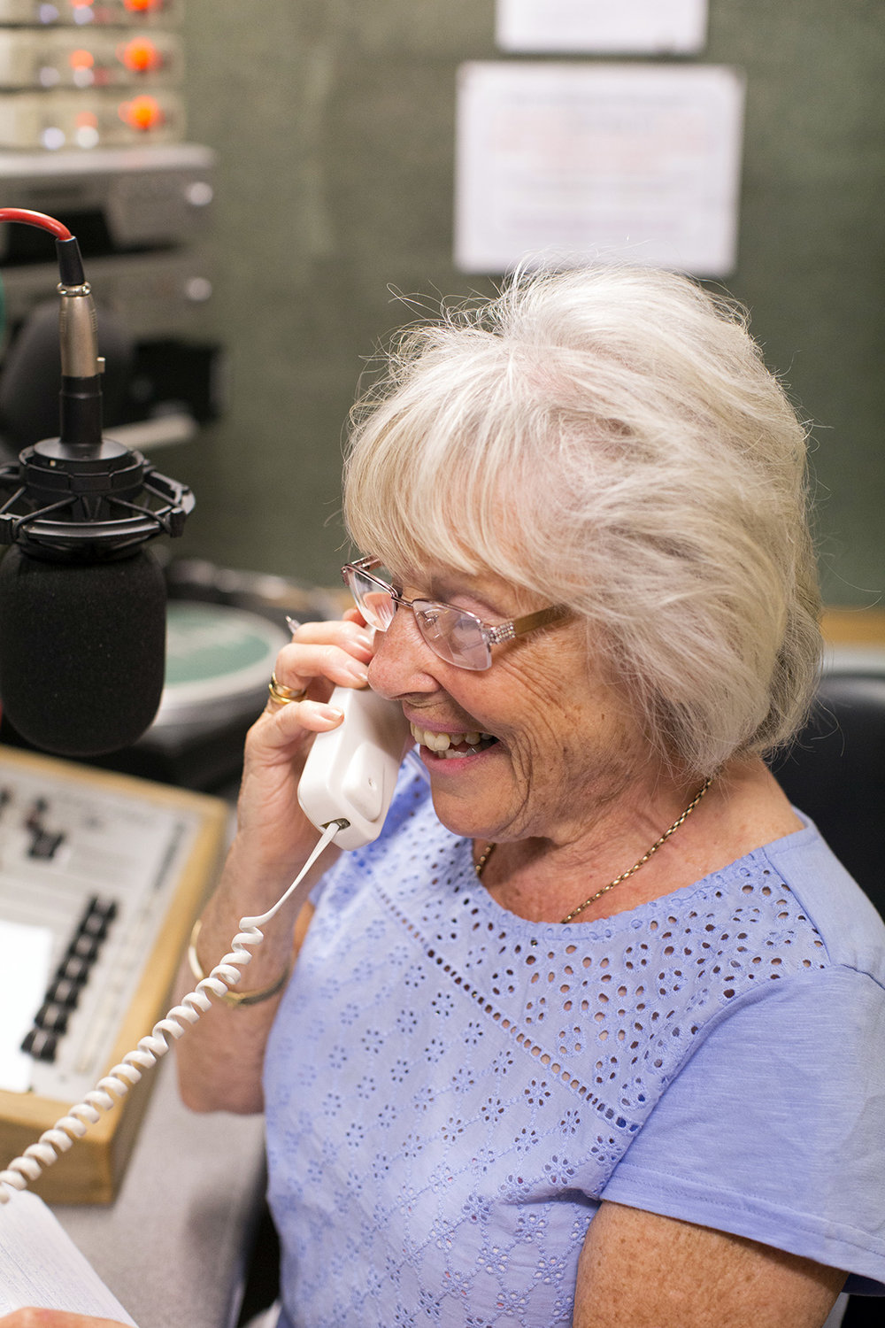 Host Eileen Trodd talking to a listener during her Tea for Two program