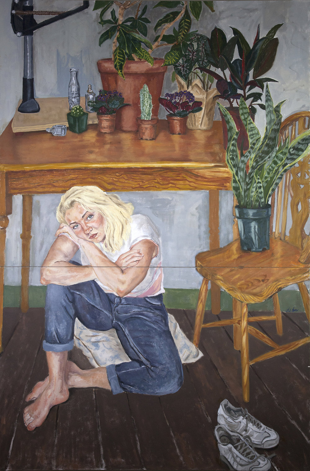 """Arielle and the Frustrations of Summer   oil on canvas  86""""x58""""  201"""