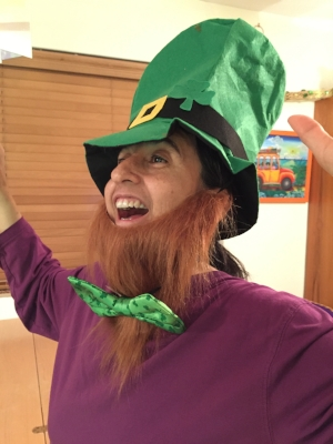 Who has a fake red beard? Who has a big green costume bow tie? I do! Do you?