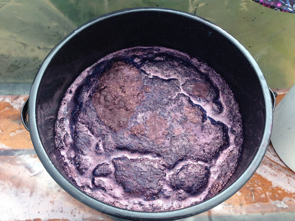 It smells kind of weird and has a coppery texture, but this is just the most beautiful sight to see in an indigo vat.