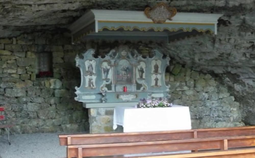 Author's photo, inside the chapel cavern, Ebenalp
