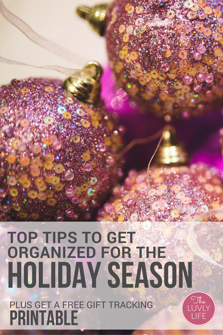 Do you find yourself frazzled every holiday season? Nobody enjoys a stressed holiday. Click through to read some top tips to have an organized, stress-free holiday season. BONUS: Grab a free gift giving tracking printable and say goodbye to overspending this holiday season!!