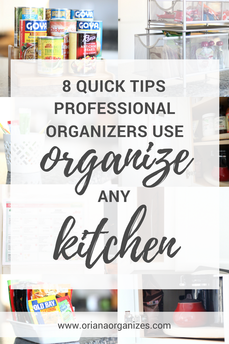 Here are some super easy and inexpensive tips professional organizers use to help organize your kitchen. Click through to learn how to get your kitchen in order without going broke.