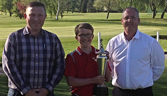 Sayce Cup winner Aaron Evans (centre) with Club Captain Chris Offa (left)  and sponsor Martyn Evans of Builth Wells Garages Limited (right)
