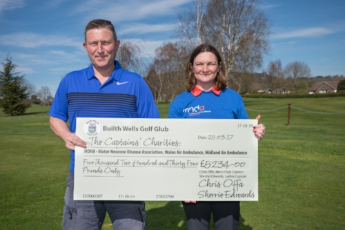2016 Club Captain's, Chris Offa & Sherrie Edwards proudly displaying their Captain's Charities fundraising efforts.