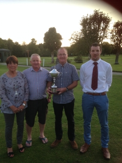 Jim Downs Cup winners Paul Parry & John Parker (centre) with Club Captain, Tom Davies (right) & Lady President Sue Parry