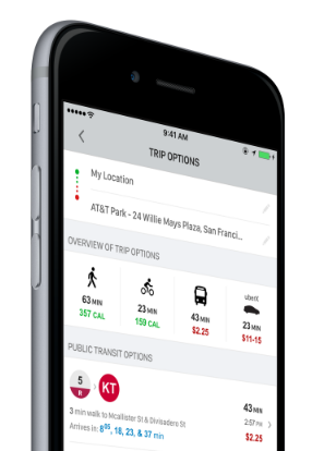 Multi-modal trip planning that helps riders find the fastest and most affordable ways to get around town.