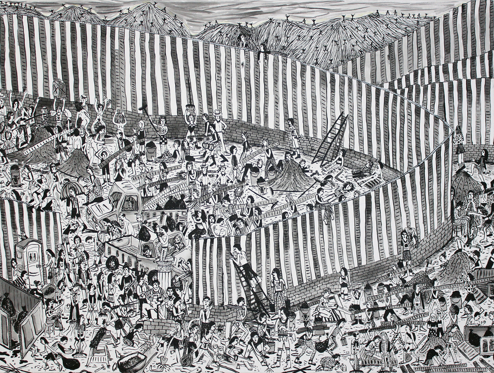 """Boarder Wall Ink on canvas 36""""x48"""" 2016"""