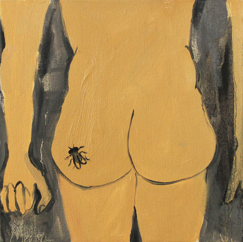 "Ass Tat  oil on canvas  14""x14""  2013"