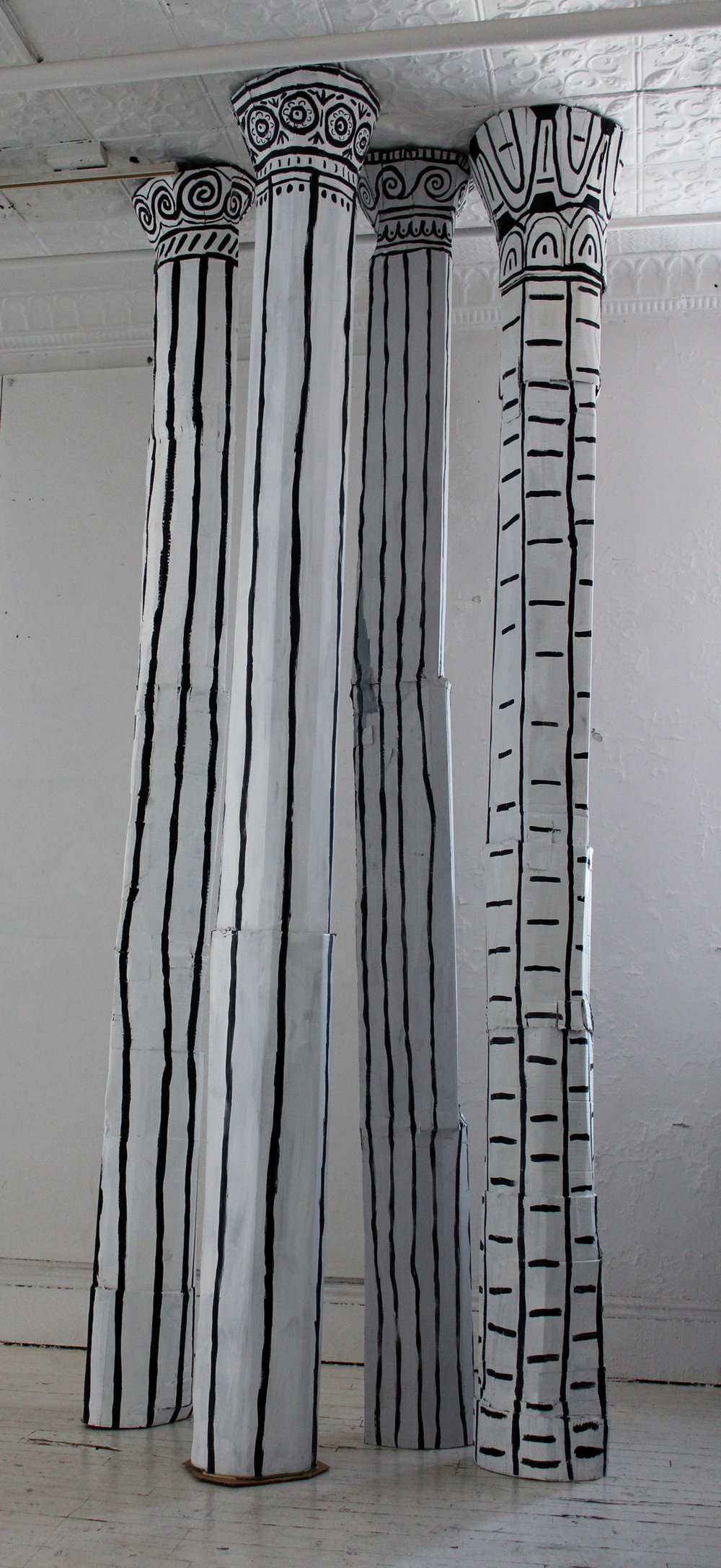 "Columns  Acrylic and cardboard  110""x10""x10"""