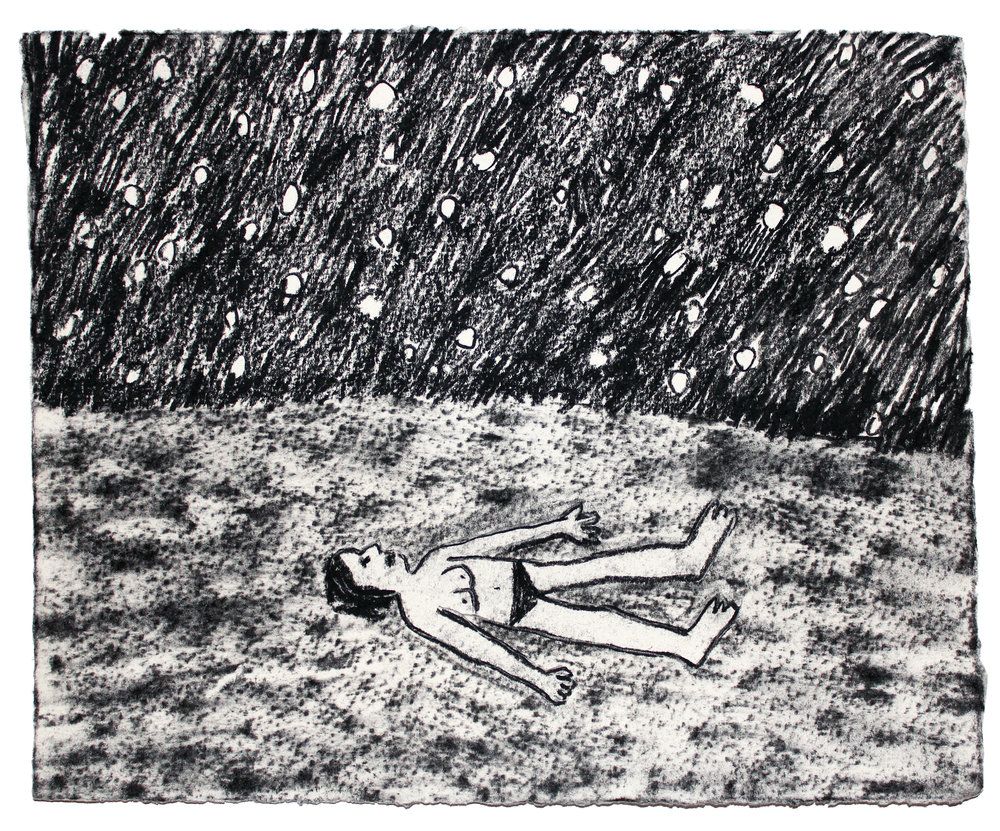 """Star Dreaming  Charcoal on paper  7.5""""x9"""""""