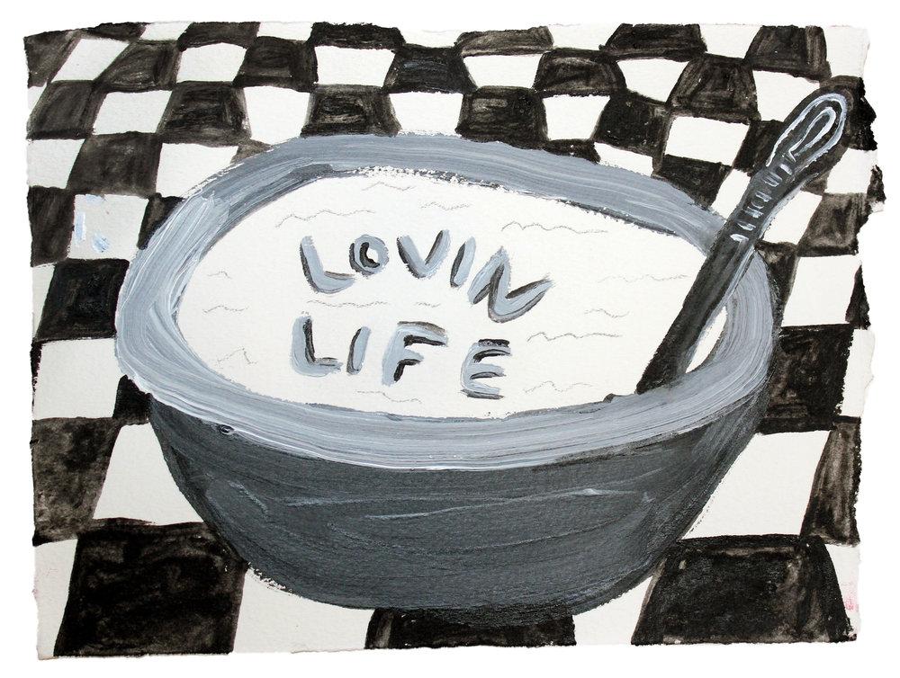 "Lovin Life  acrylic on paper  5""x7"""