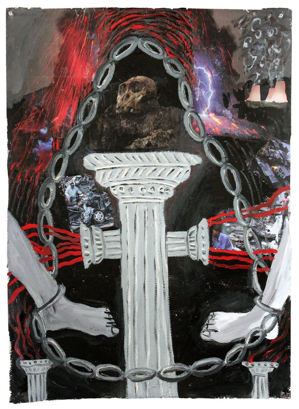 """Death Chain  Acrylic, collage, and oil on paper  30""""x22"""""""