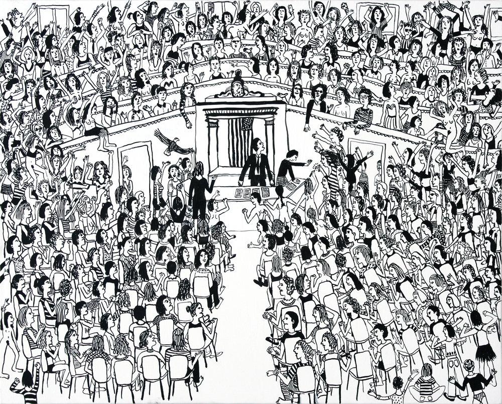 """Women Rule Congress  ink on canvas  20""""x24""""  2015"""